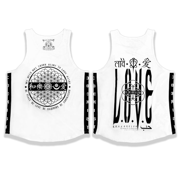 LOVE IS THE ONLY LAW • WHITE • Scooped Tank Top Apparel