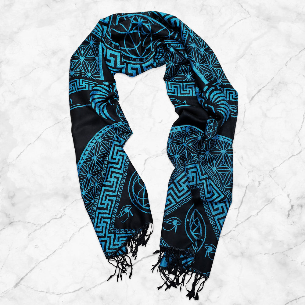 DREAM AWAKE • SKY BLUE • Reversible Festival Shawl/Scarf