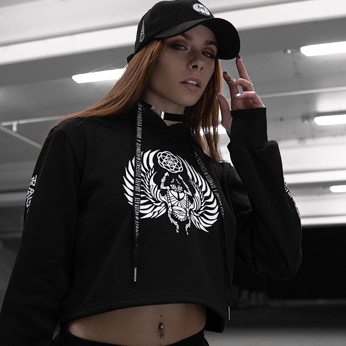 SACRED SCARAB V1 • Black/White • Cropped Hoodie Apparel