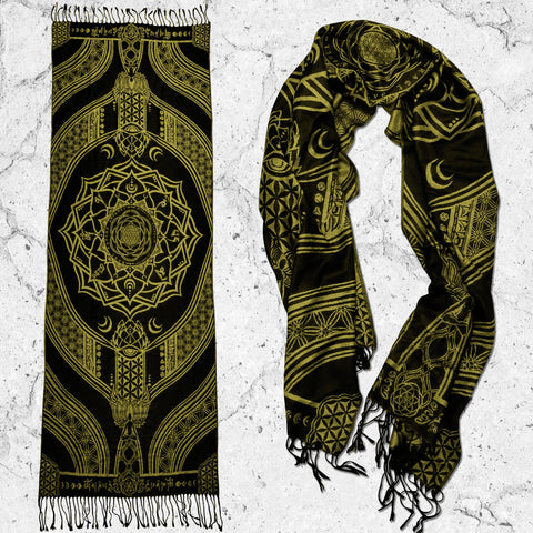 MANTRA • GOLD • Reversible Festival Shawl/Scarf