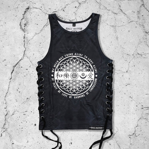 LOVE IS THE ONLY LAW \\ CROP TANK // w/ Lace Up Sides