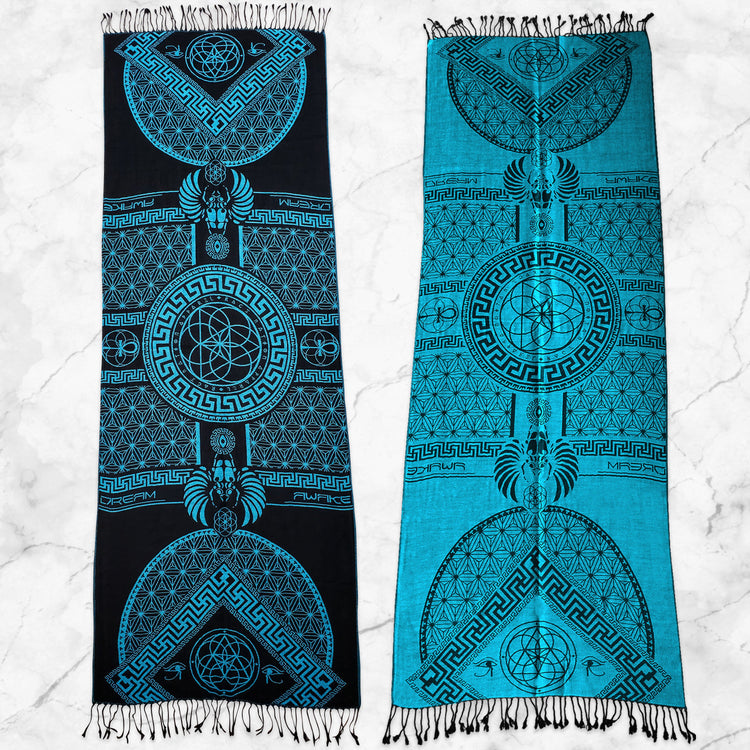 DREAM AWAKE • SKY BLUE • Reversible Festival Shawl/Scarf Shawls