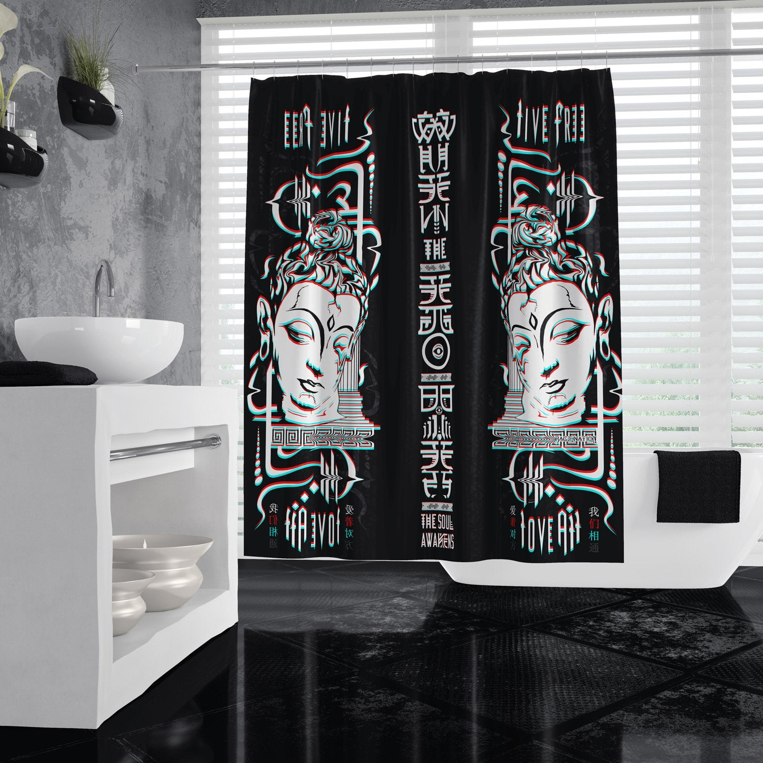 LIVE FREE x LOVE ALL // Shower Curtains