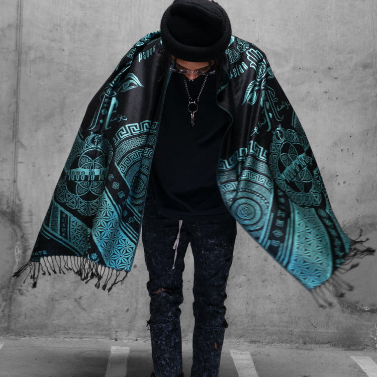 LOVE IS LAW • AQUAMARINE • Reversible Festival Shawl/Scarf Shawls