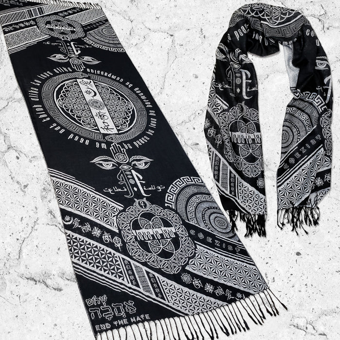 LOVE IS LAW • SILVER • Reversible Festival Shawl/Scarf Shawls