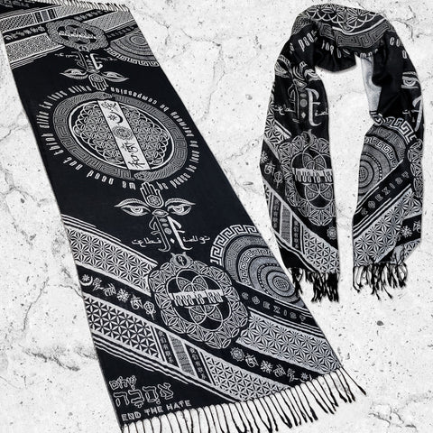 PRE-ORDER • LOVE IS LAW • SILVER • Reversible Festival Shawl/Scarf