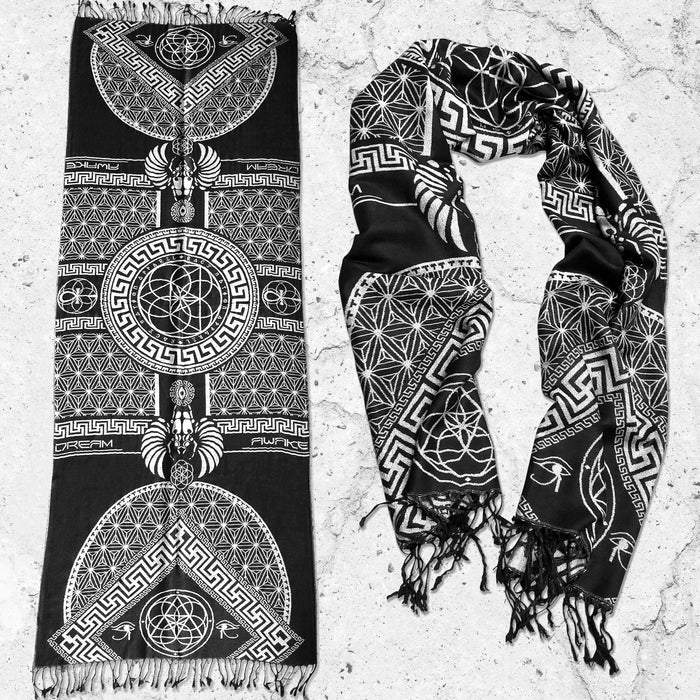 DREAM AWAKE • BLACK/WHITE • Reversible Festival Shawl/Scarf Shawls