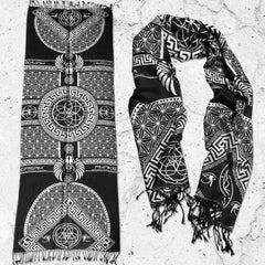 DREAM AWAKE • BLACK/WHITE • Reversible Festival Shawl/Scarf