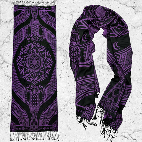 MANTRA • PURPLE HAZE • Reversible Festival Shawl/Scarf