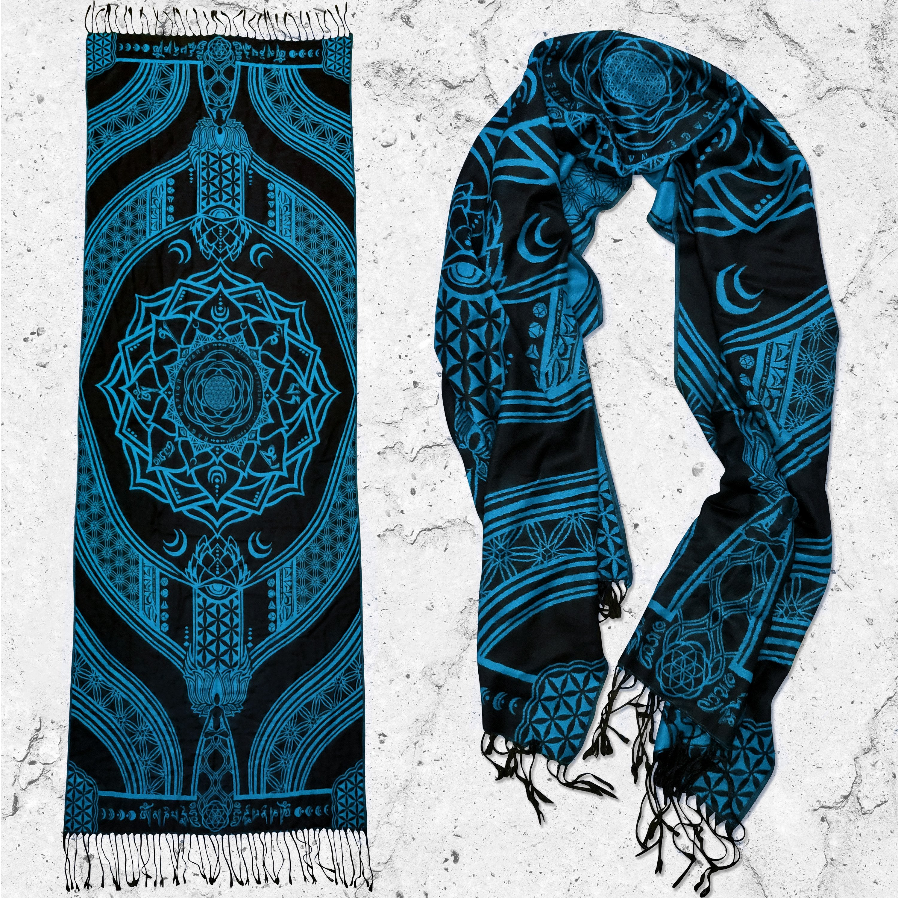 MANTRA • SKY BLUE • Reversible Festival Shawl/Scarf