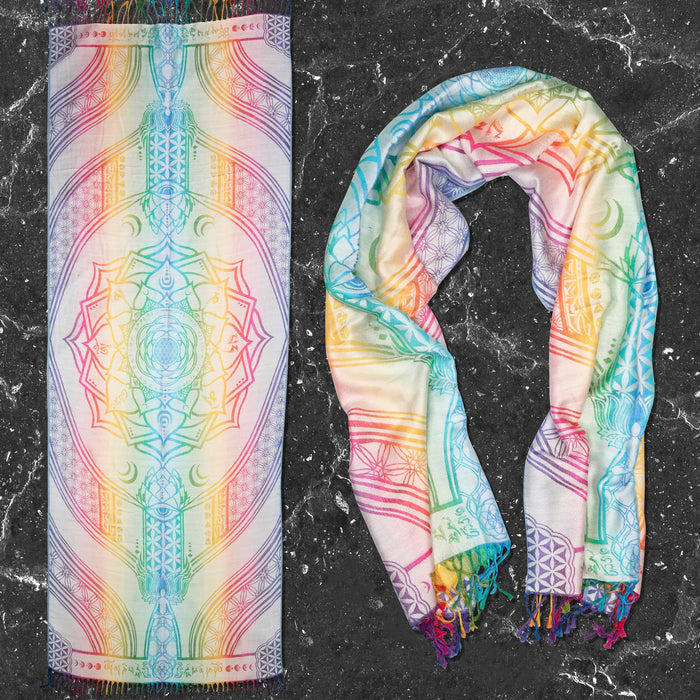 PRE-ORDER • MANTRA • LIGHT SPECTRUM • Reversible Festival Shawl/Scarf Shawls