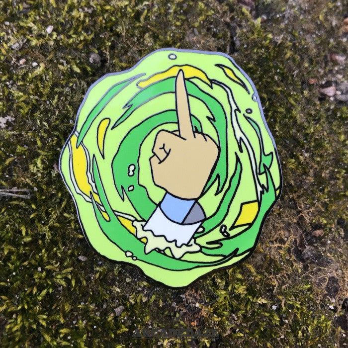 Peace Among Worlds Rick and Morty Portal Enamel Pin Arcadedaze