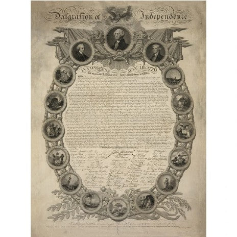 """Historic """"Declaration of Independence"""" engraving by publisher John Binns Archival print"""