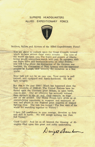 The Orders of the Day on D-Day, June 6, 1944