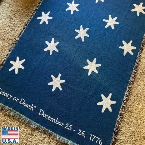 Victory blanket woven in the US showing the stars from Washington's HQs flag
