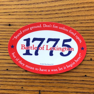 """1775 Battle of Lexington"" Bumper sticker from The History List Store"