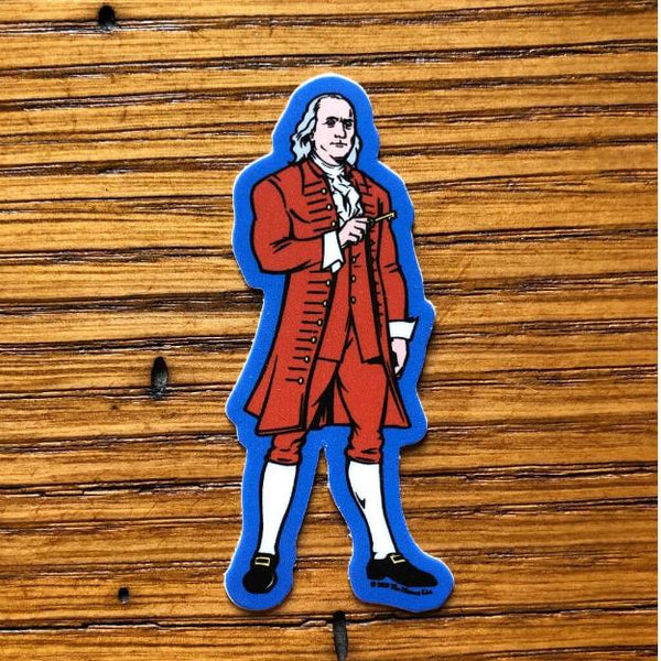 """Revolutionary Superheroes - Ben Franklin"" Sticker from The History List Store"