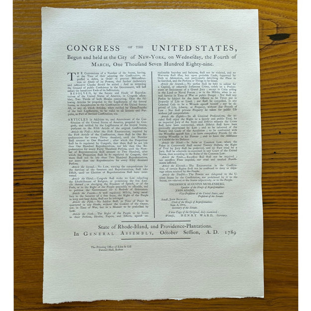 The Bill of Rights originally printed by Bennett Wheeler (Providence, RI) — from the Printing Office of Edes & Gill