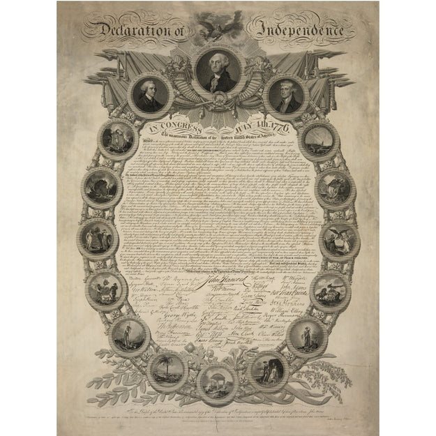 "Historic ""Declaration of Independence"" engraving by publisher John Binns Archival print"