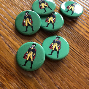 """Revolutionary Superheroes - George Washington"" Button pin from The History List Store"