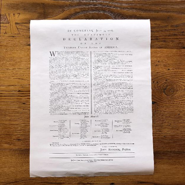 """Declaration of Independence"" printed by Mary Katherine Goddard (Baltimore) from The History List Store"