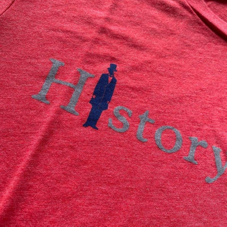 """History Nerd"" with Abraham Lincoln long-sleeved shirt - Light red heather from The History List Store"