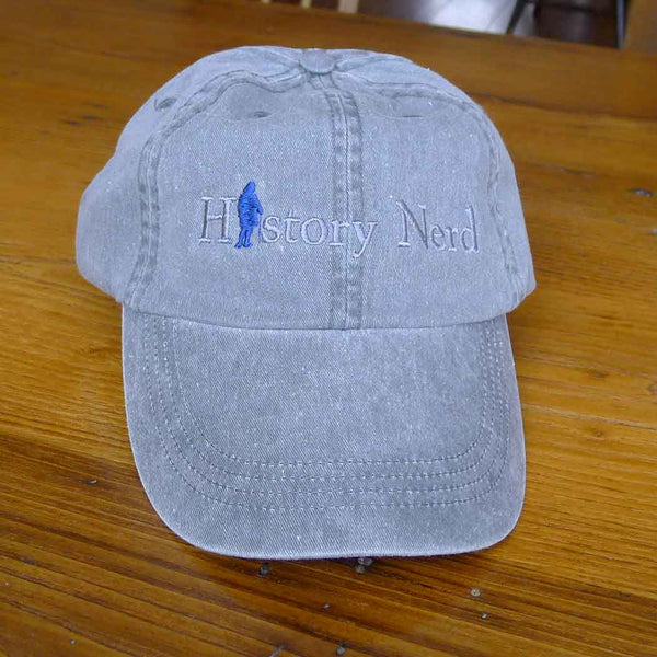 "Embroidered ""History Nerd"" with Ben Franklin cap - Grey from The History List Store"