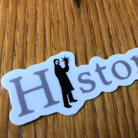 """History Geek"" sticker with Nikola Tesla from The History List Store"
