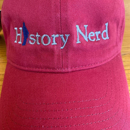 "Embroidered ""History Nerd"" with Ben Franklin cap - Chili from The History List Store"