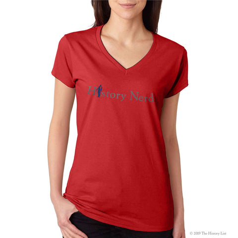 """History Nerd"" V-neck shirt with George Washington - Red from The History List Store"