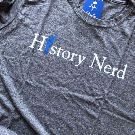 "Civil War ""History Nerd"" shirt - Charcoal grey and Dark blue from The History List Store"