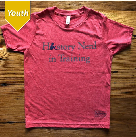"""History Nerd in Training"" shirt in youth sizes - Red from The History List"