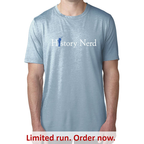 """History Nerd"" T-Shirt with Civil War Soldier - Light Blue Heather from The History List Store"