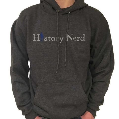 """History Nerd"" Pullover sweatshirt with Ben Franklin - Charcoal grey from The History List Store"