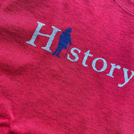"""History Nerd"" shirt with Ben Franklin - Antique cherry red"