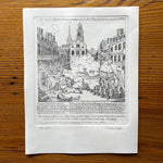 Boston Massacre Hand-Engraved print, after Revere