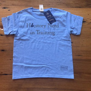 """History Nerd in Training"" shirt in youth sizes - Light Blue from The History List Store"