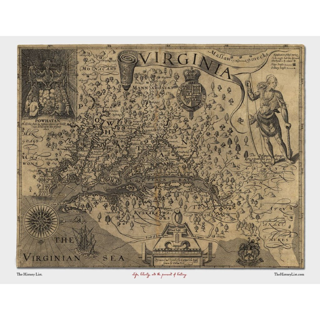 John Smith's map of Jamestown published in 1612