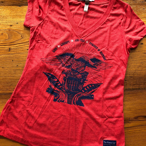 """Life, liberty, and the pursuit of history"" V-neck Shirt - Light red heather from The History List Store"
