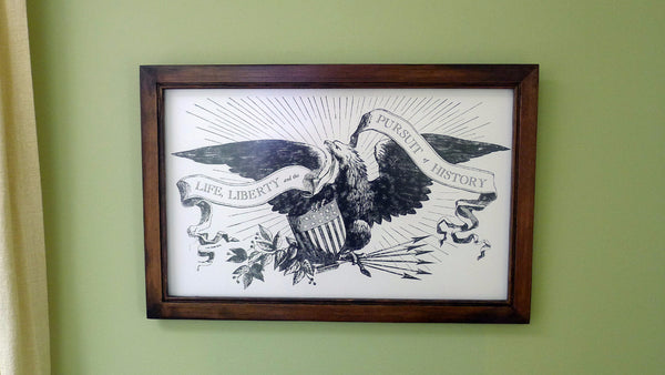 """Life, Liberty and the Pursuit of History"" letterpress print in a handmade frame - Walnut stain"