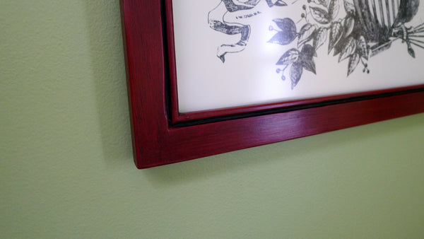 """Life, Liberty and the Pursuit of History"" letterpress print in a handmade frame - Dark red finish"