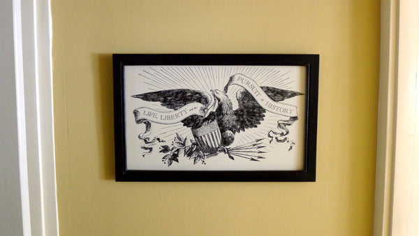 """Life, Liberty and the Pursuit of History"" letterpress print in a handmade frame"