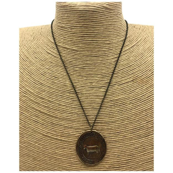 """Seal of  Newport Rhoade Island Covnsel"" Necklace - Bronze"