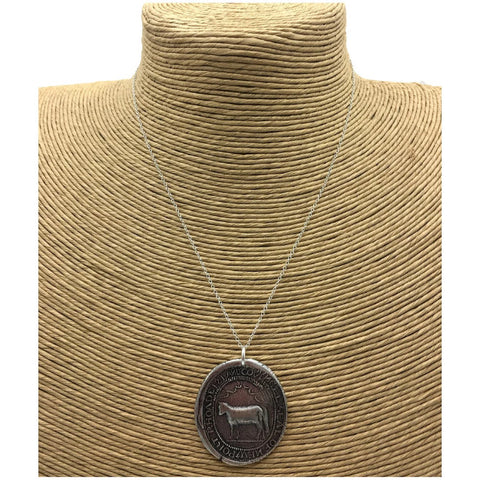 """Seal of  Newport Rhoade Island Covnsel"" Necklace - Silver"