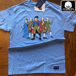 """Revolutionary Superheroes"" Shirt - Carolina blue from The History List Store"