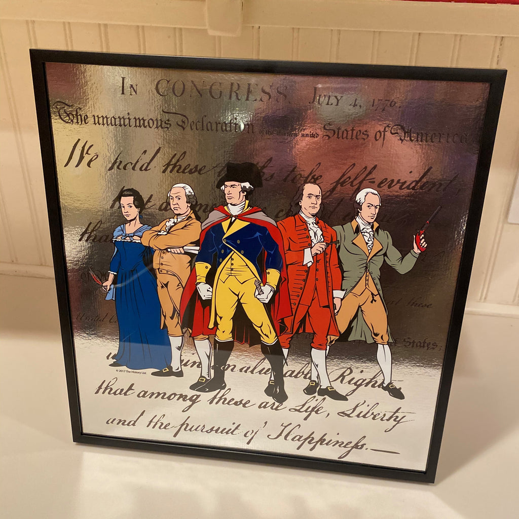 """Revolutionary Superheroes and the Declaration of Independence"" Mirrored print - Framed"