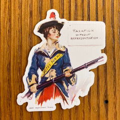 Revolutionary Suffragette with illustration by James Montgomery Flagg Sticker
