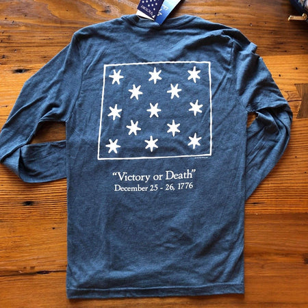 """Victory"" long-sleeved shirt - Indigo and Royal blue from The History List Store"
