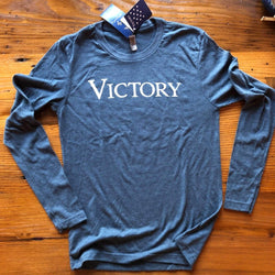 """Victory"" long-sleeved shirt - Indigo from The History List Store"