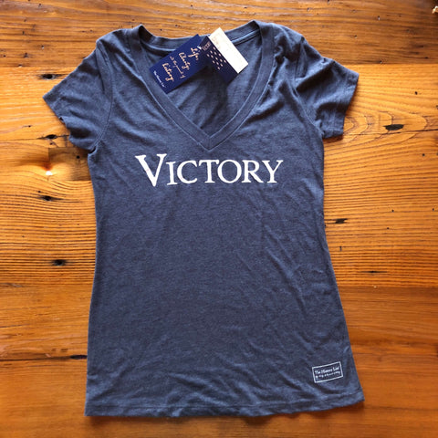 """Victory"" V-neck shirt - Vintage navy from The History List Store"